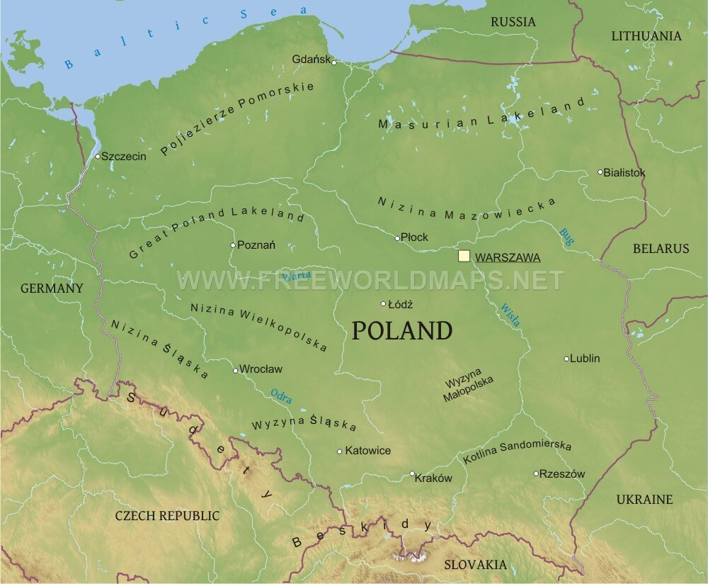 poland physical map