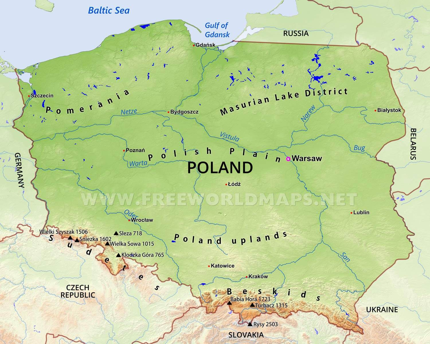 Poland Physical Map - Poland map