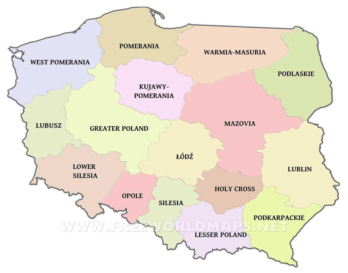 Poland Political Map - Poland political map