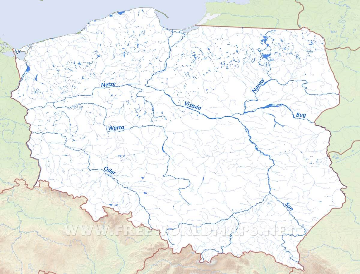 Poland physical map poland rivers map showing the major rivers and hydrography of poland sciox Image collections