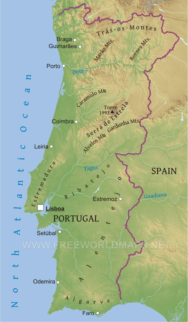 Portugal Physical Map - Portugal map physical