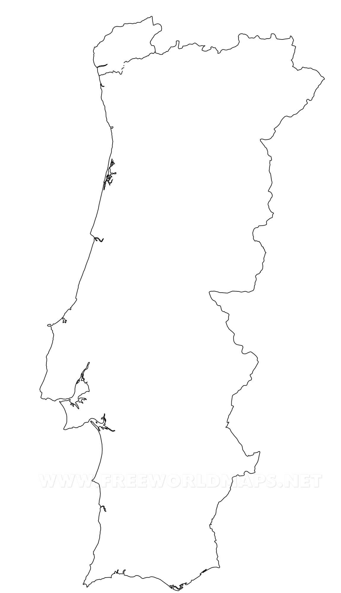 Portugal Political Map - Portugal map black and white