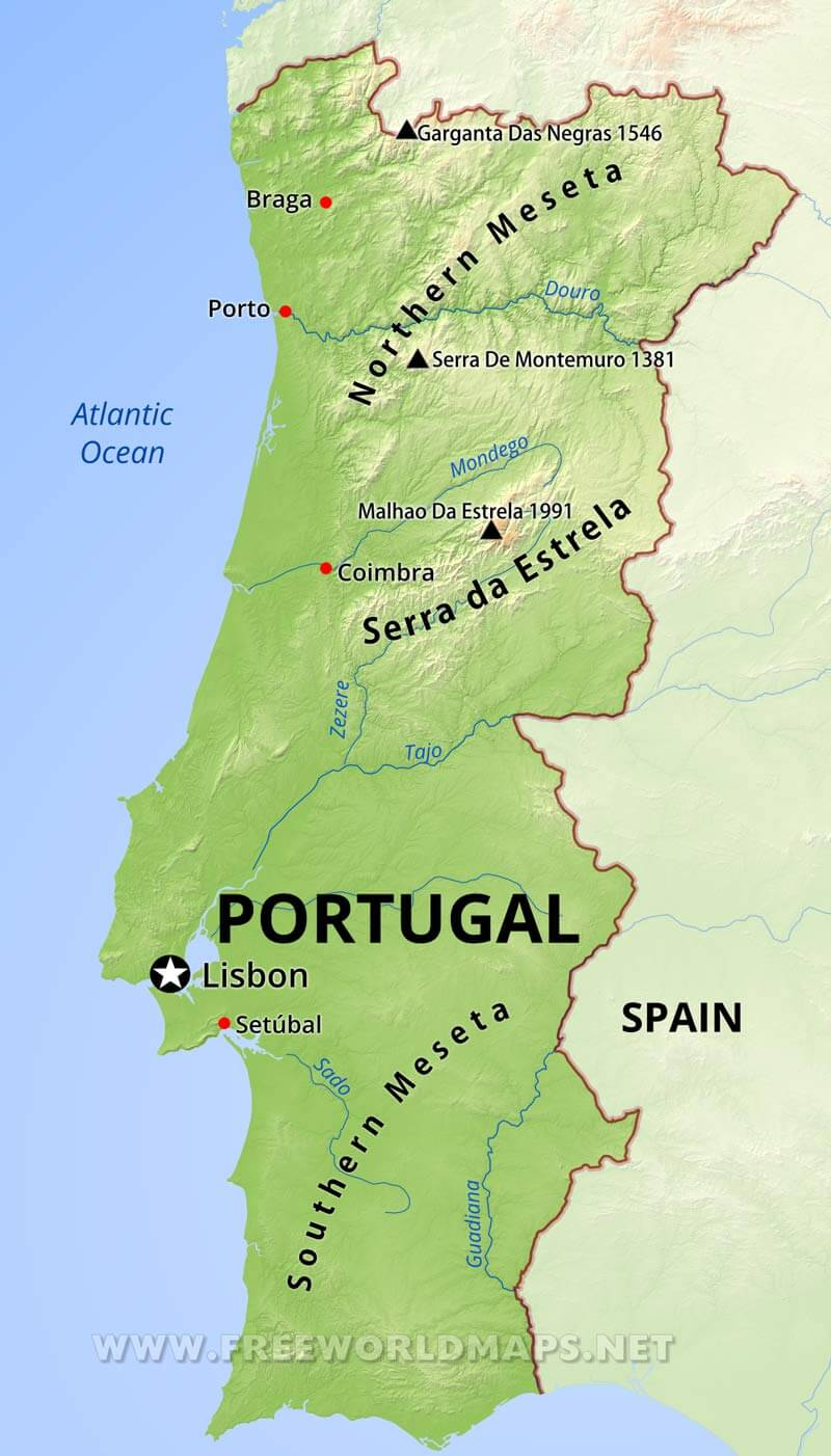 Portugal Physical Map - Portugal map
