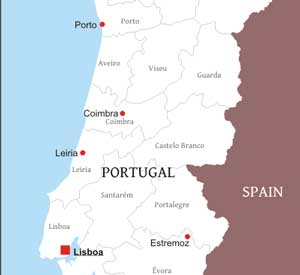 Portugal Physical Map - Portugal map major cities