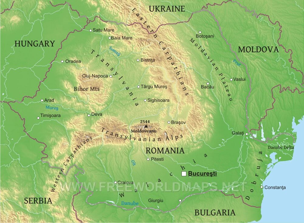 Romania Physical Map – Geographical Map of Eastern Europe