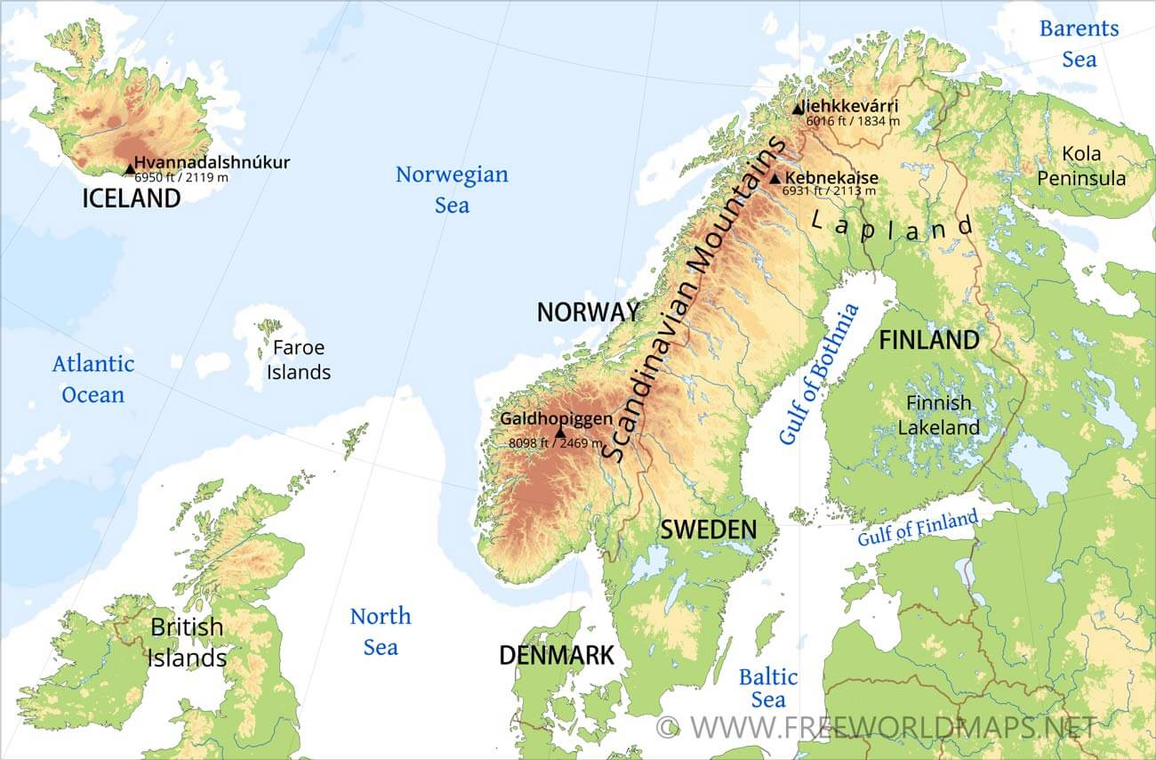 Physical map of scandinavia norway sweden finnland denmark iceland scandinavia physical map sciox Choice Image