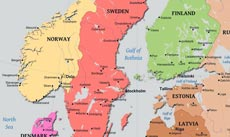 Physical Map of Scandinavia - Norway, Sweden, Finnland, Denmark, Iceland