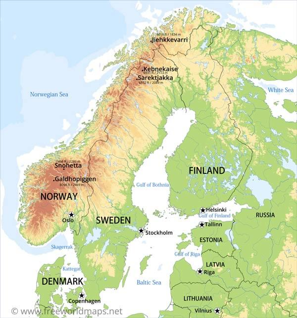 Borders Finland Norway Sweden Has Mountains In The Wes - Norway map mountains