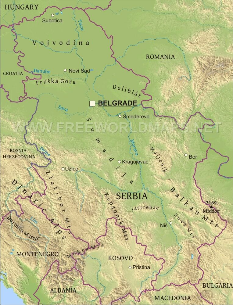 Serbia Physical Map - Map of serbia