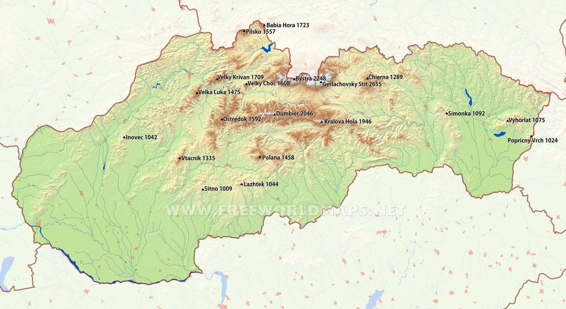 Slovakia Physical Map