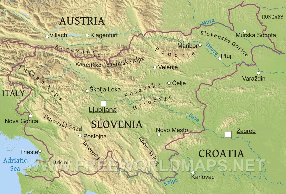 Slovenia Physical Map - Slovenia map hd