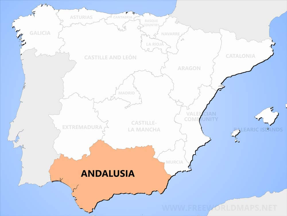 Where Is Spain On The Map Of The World.Andalusia Maps