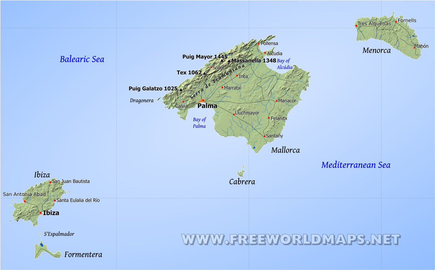 Balearic Islands Physical Map