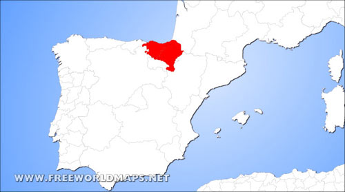 Basque Country Physical Map greater region