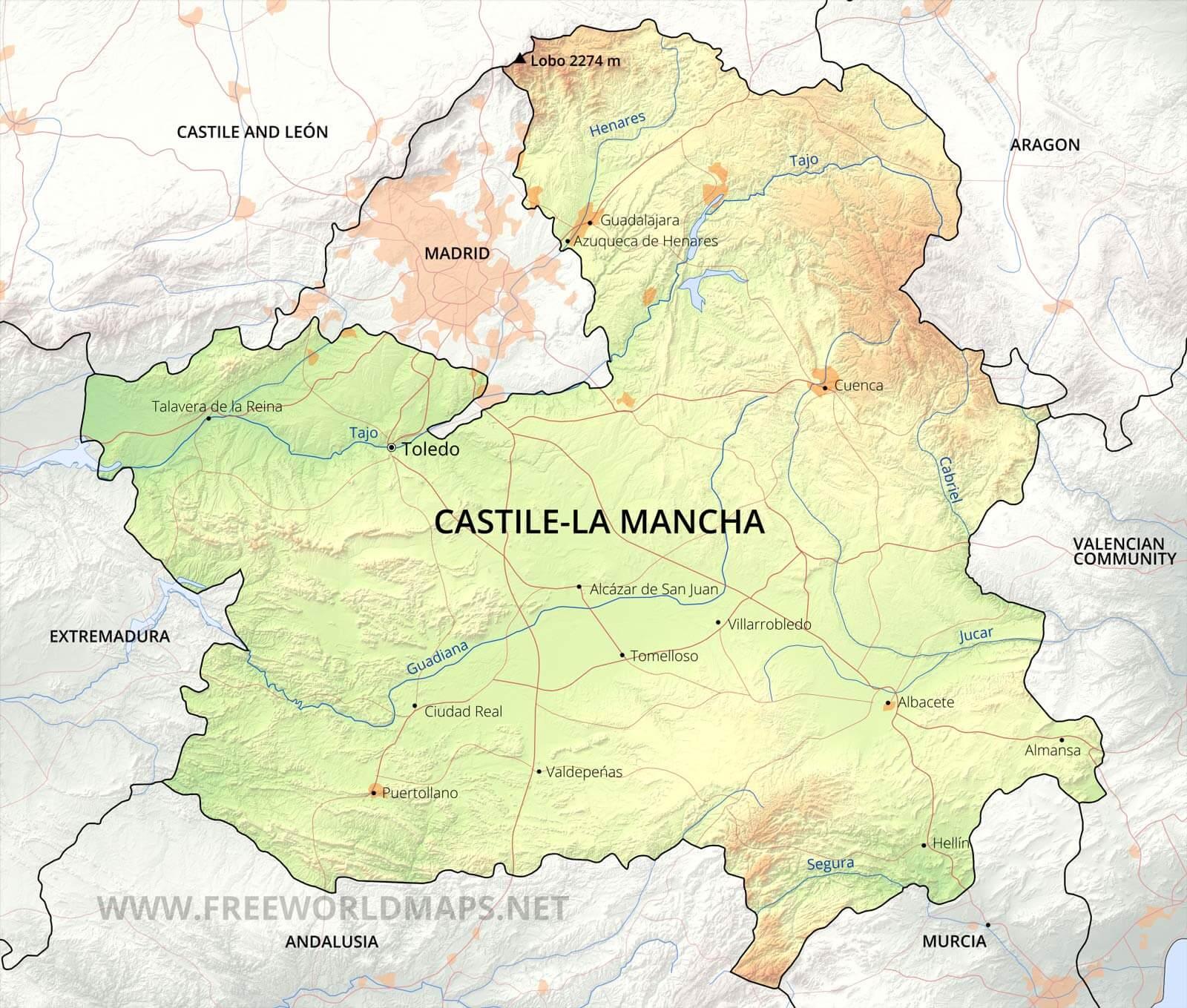 La Mancha Spain Map.Castile La Mancha Maps