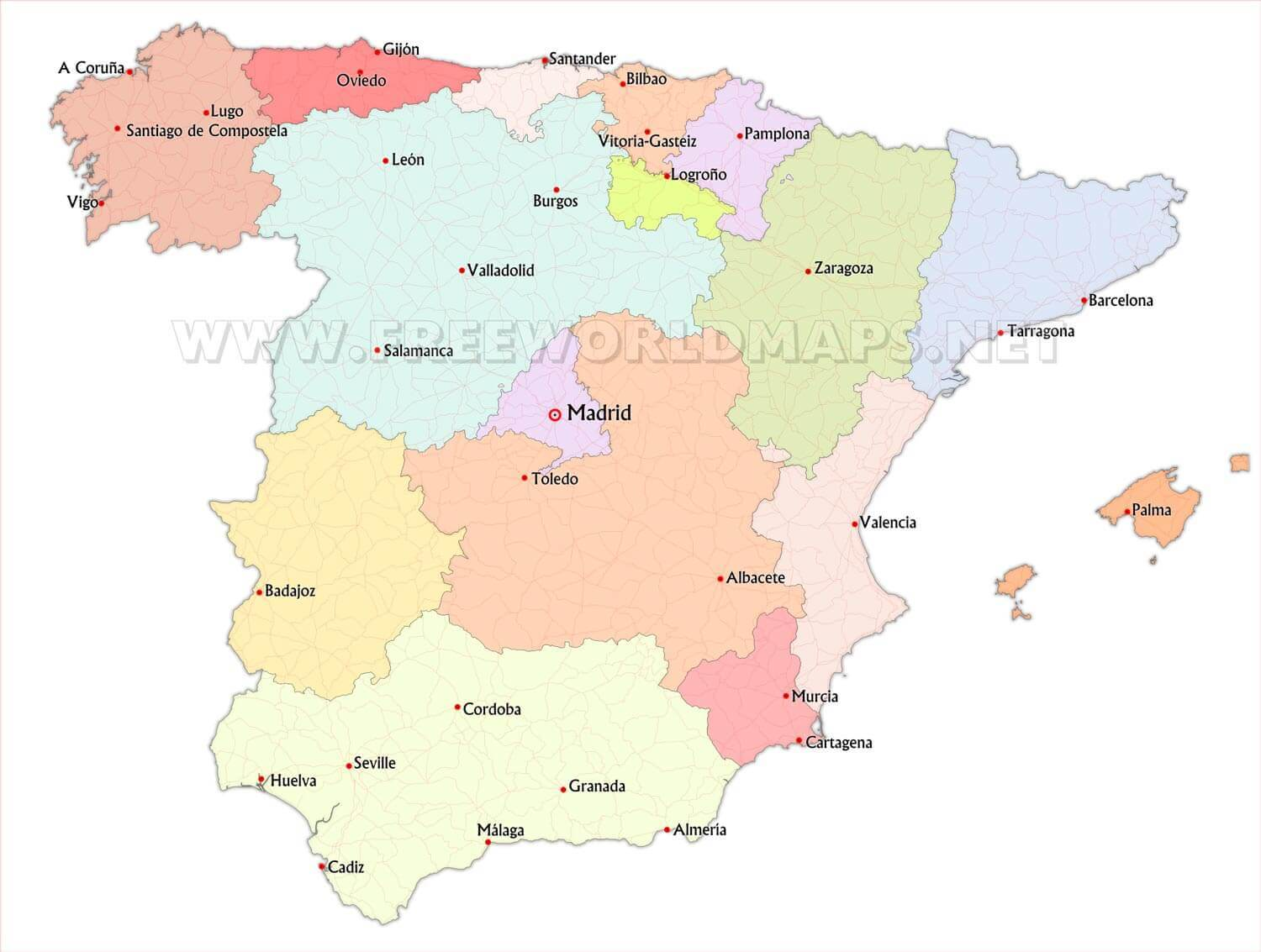 Large Detailed Relief Outline Map Of Maps Spain