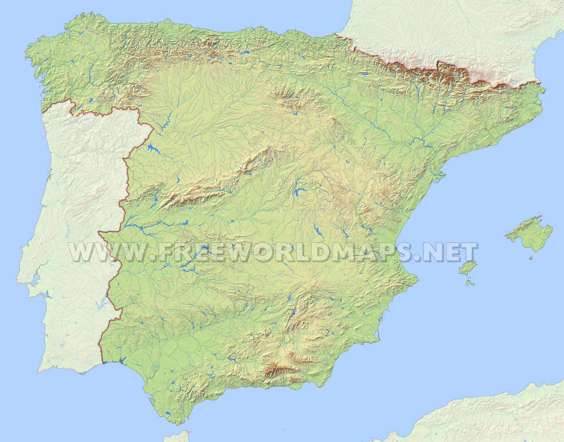 Spain map in HD- high ...