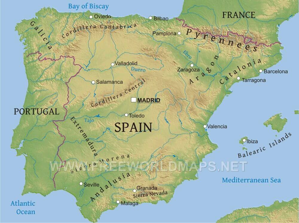 Spain Physical Map - Portugal map physical