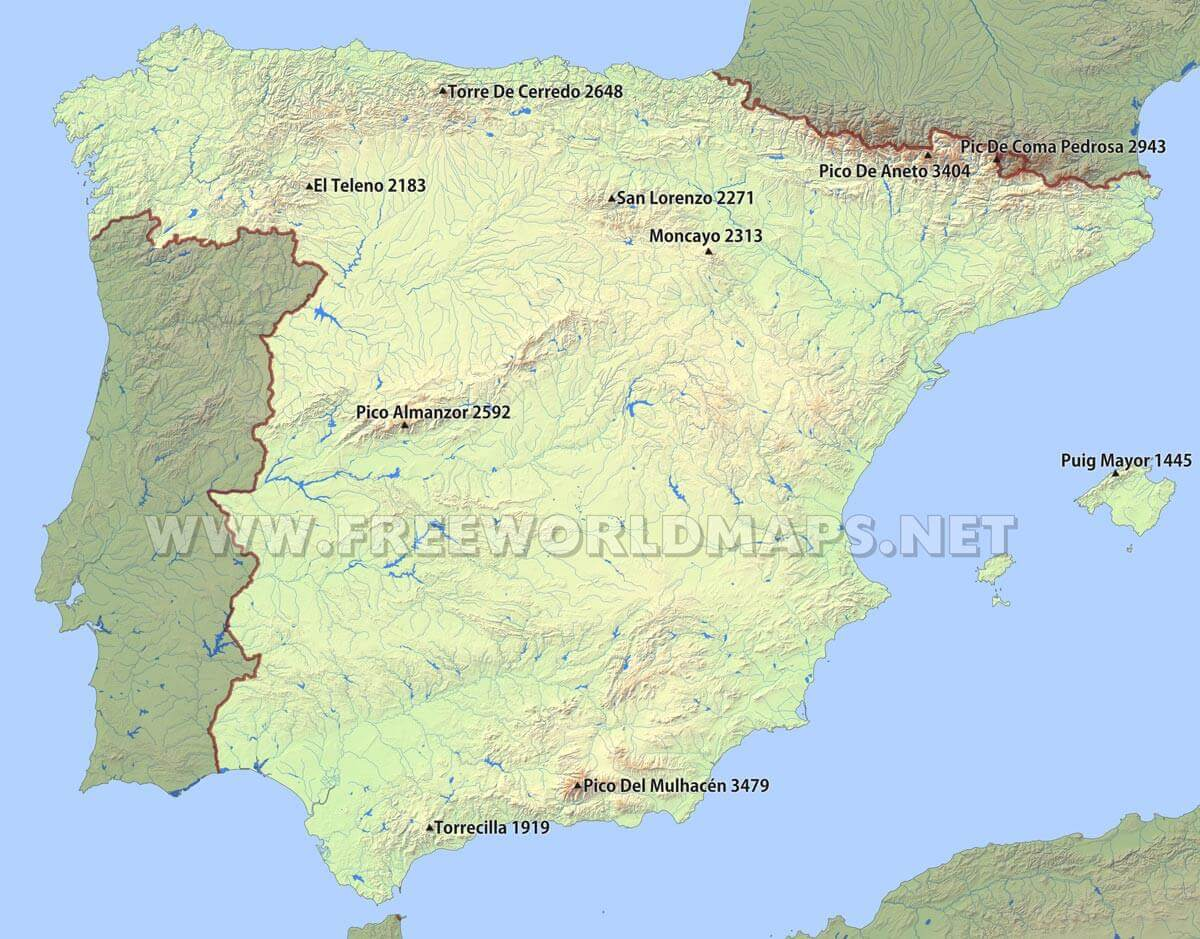 Spain Rivers Map Showing The Major Rivers And Hydrography Of Spain Spain Peaks And Mountains