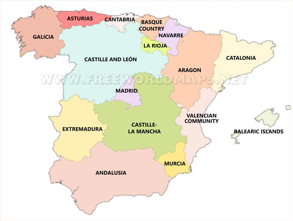 Spain regions map - showing ...