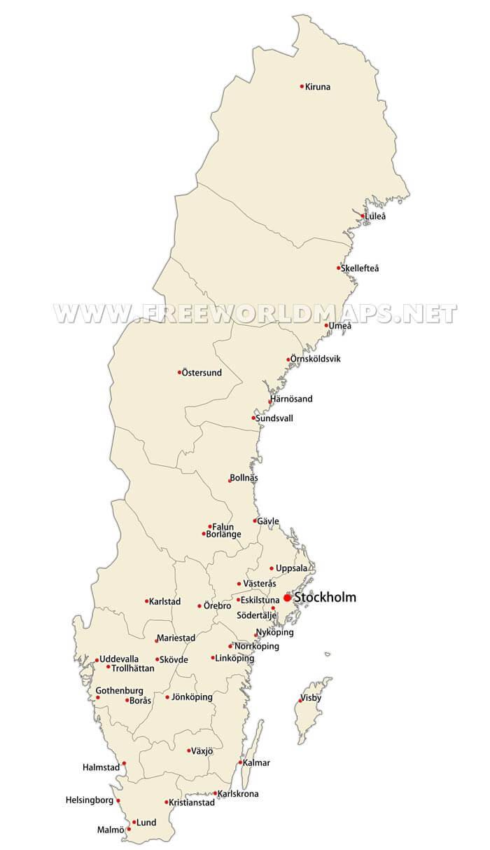 Sweden Political Map - Sweden map major cities
