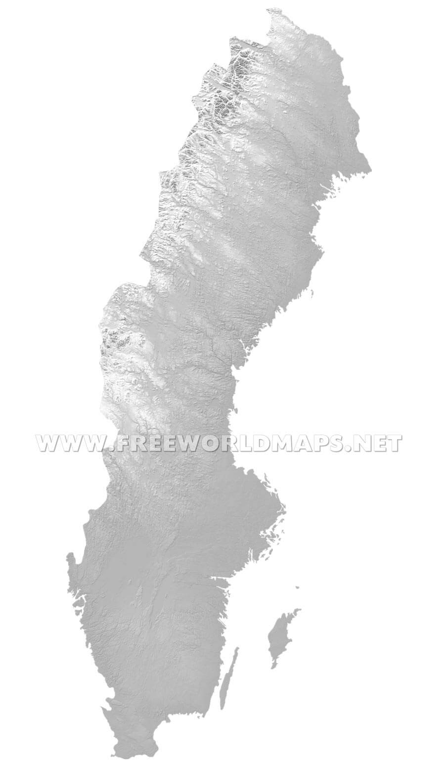 Sweden Physical Map - Sweden relief map