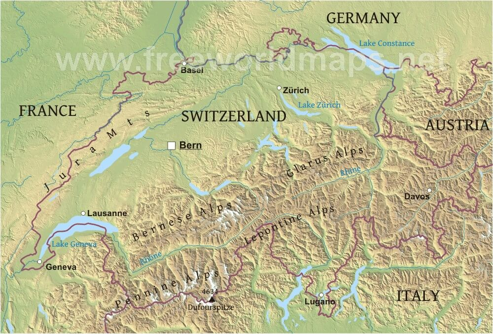 Worksheet. Switzerland Physical Map