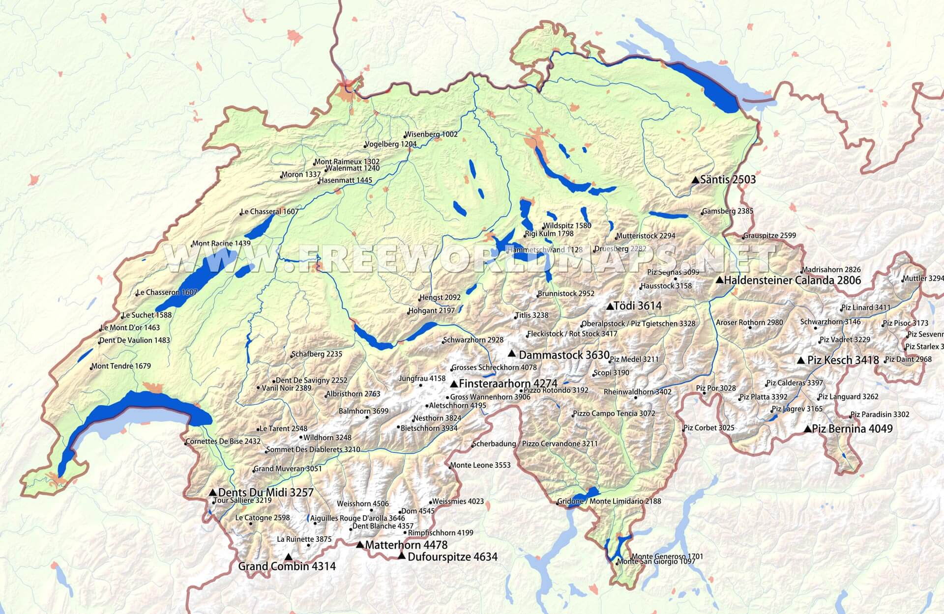 Switzerland physical map switzerland peaks and mountains gumiabroncs Images