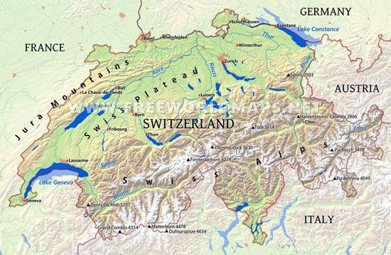 Switzerland Maps by Freeworldmapsnet