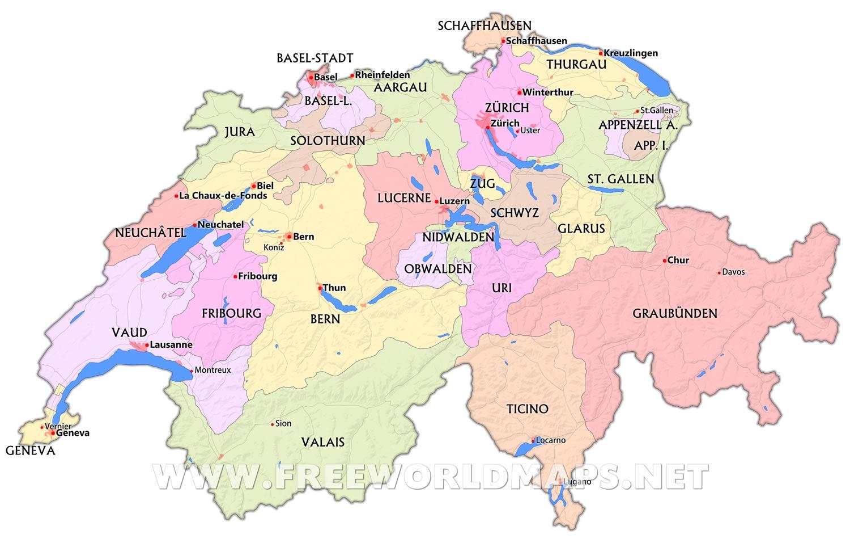 Switzerland Maps   by Freeworldmaps.net