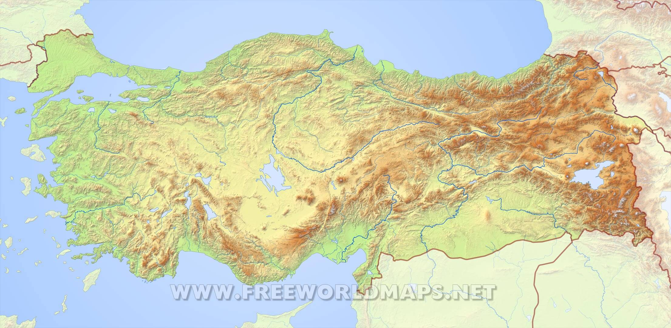Turkey Physical Map - Map of turkey
