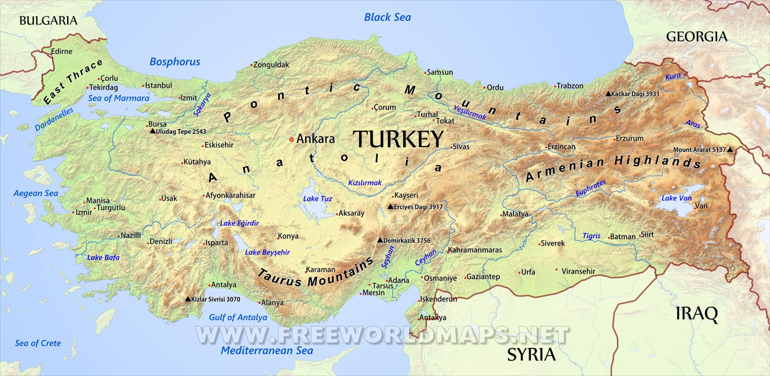 Map Of Europe And Turkey.Turkey Physical Map