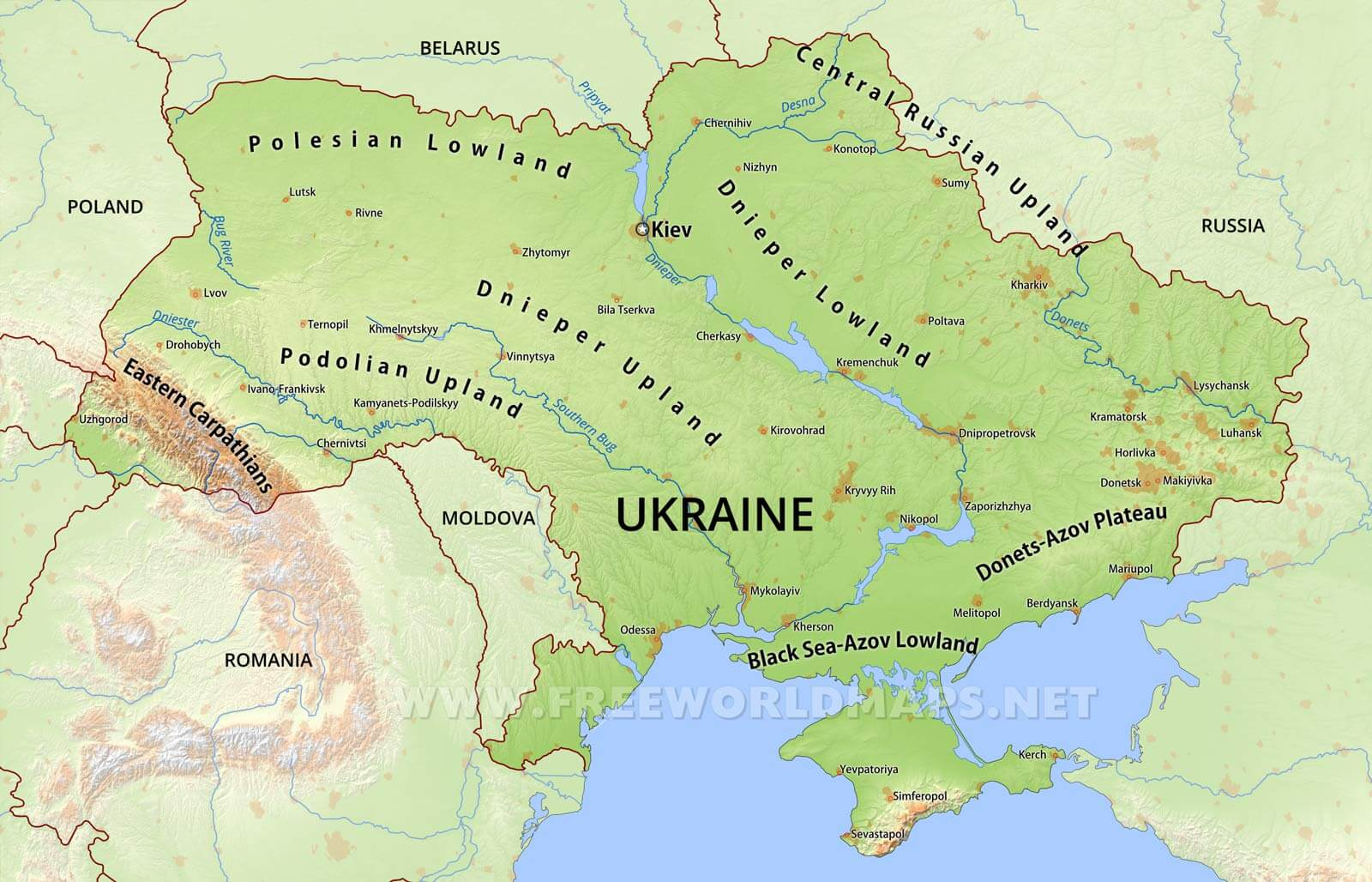 Ukraine physical map sciox Images