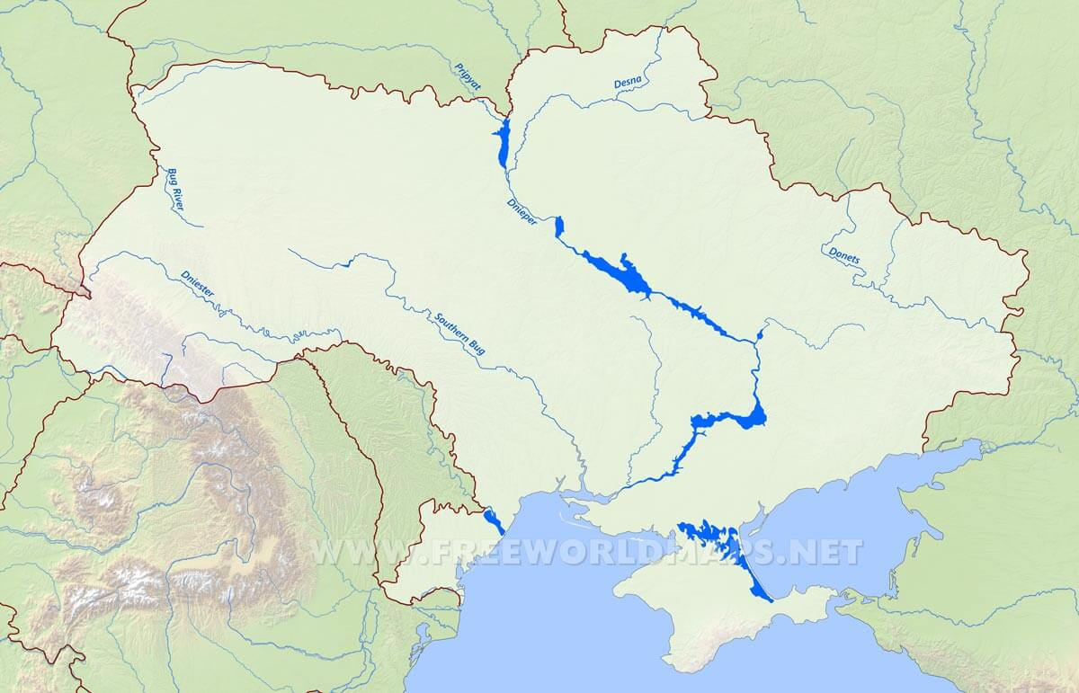 Map Showing Dnieper Donets Dniester Bug Southern