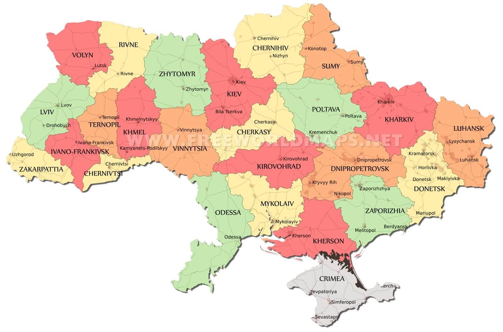 Ukraine On Map Of Europe.Ukraine Maps By Freeworldmaps Net
