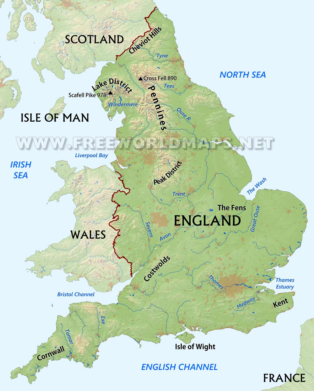 England Physical Map