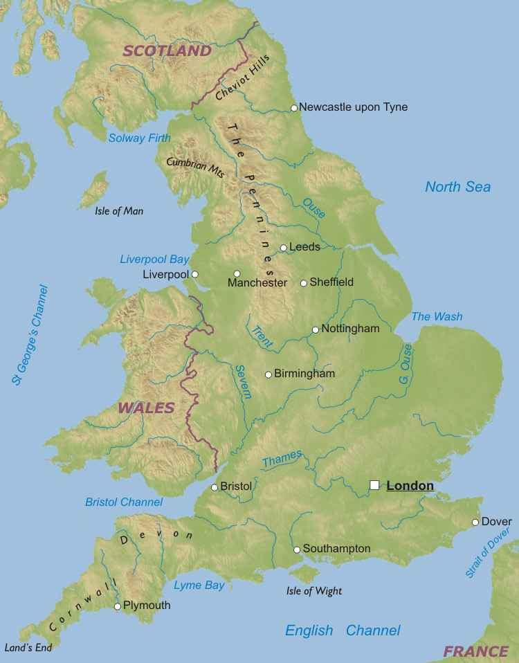 Physical map of england united kingdom england is the largest