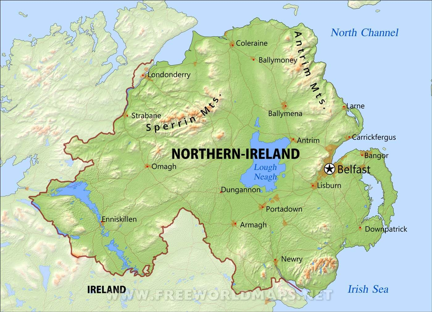Northern Ireland Physical Map