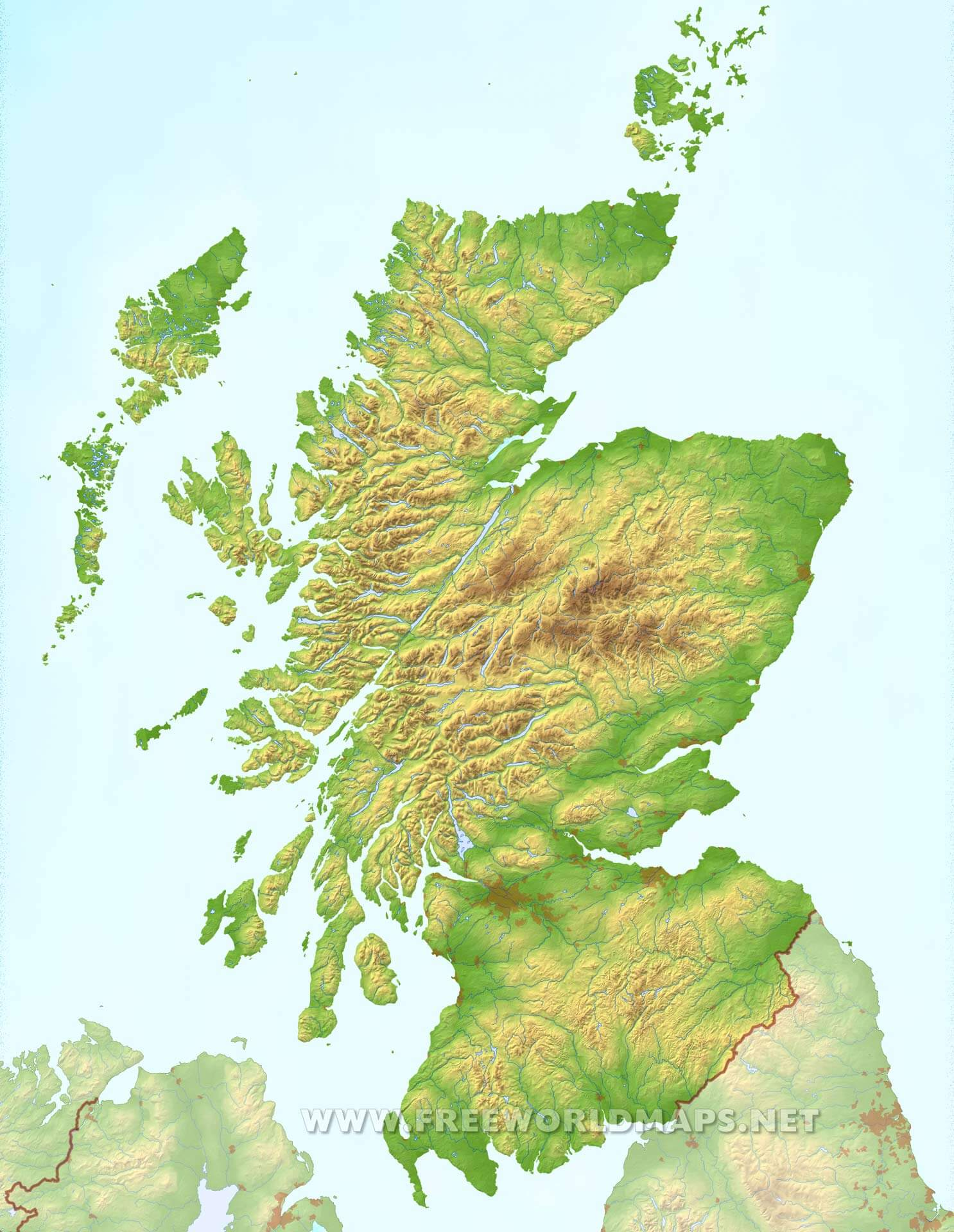 scotland physical map