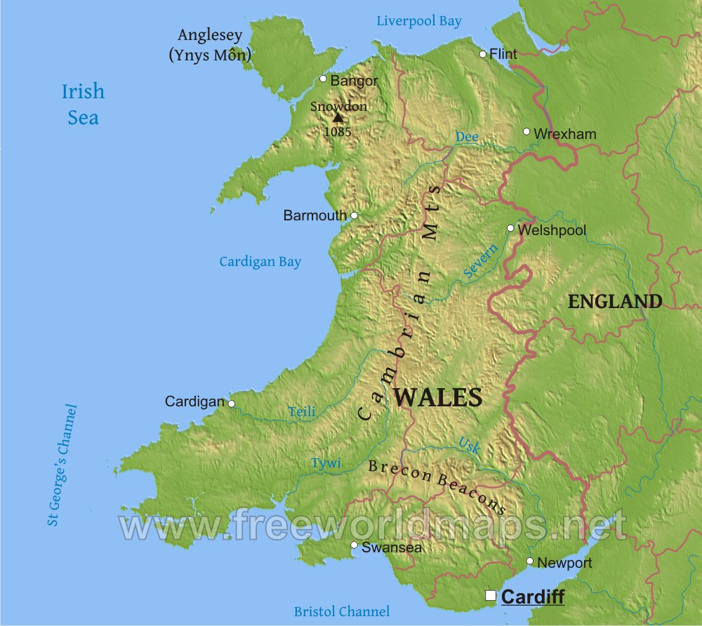 Wales Physical Map