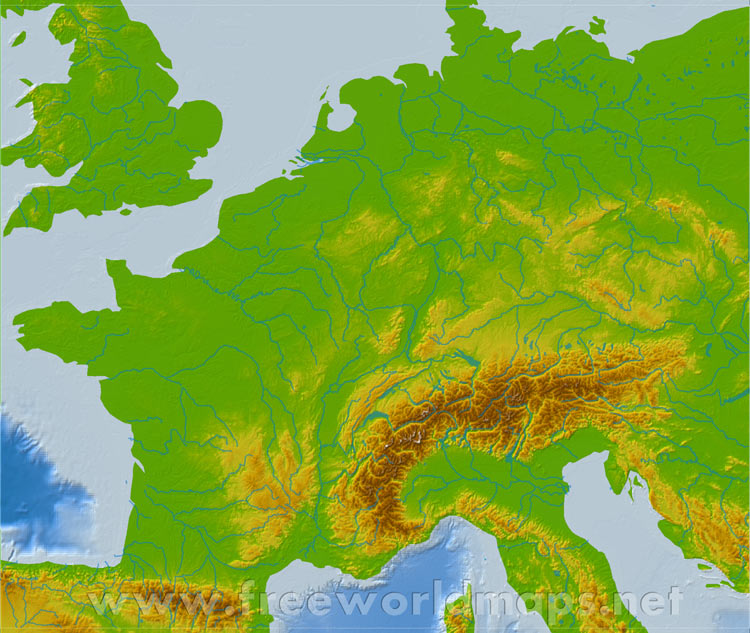 Western Europe Physical Map – Geographical Map of Eastern Europe
