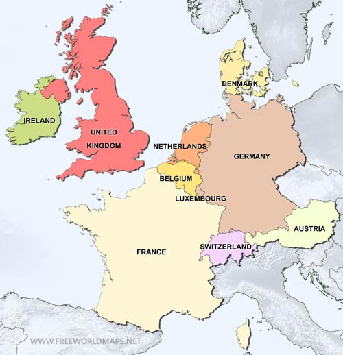 Political map of Western Europe, equirectangular cylindrical ...