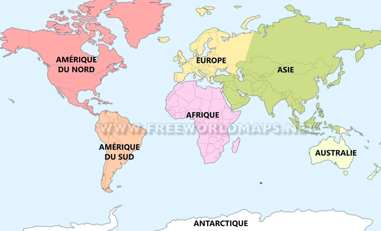 Carte Du Monde Continents.Les Sept Continents Freeworldmaps Net