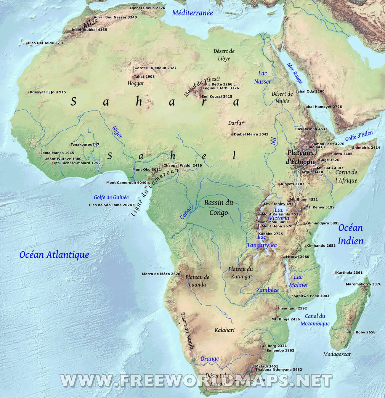 Carte Hydrographique De Lafrique Du Sud.Carte De L Afrique En Francais