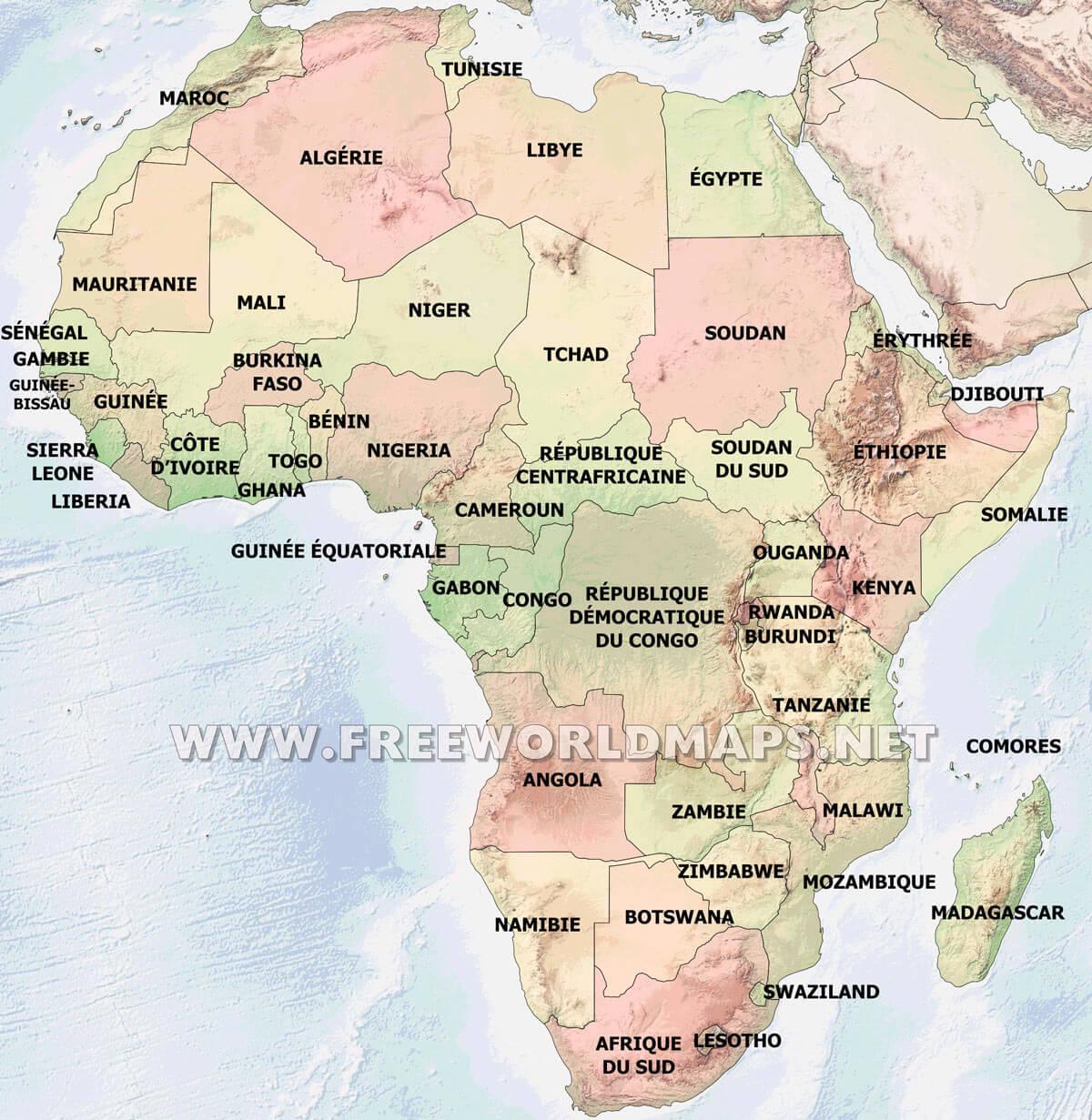 Carte De Lafrique Fleuves.Carte De L Afrique En Francais