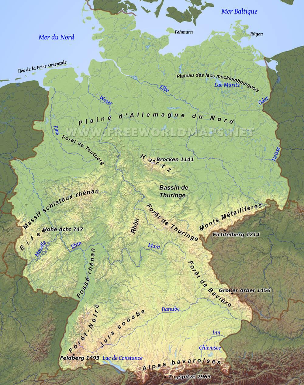 Carte Allemagne Thuringe.Carte De L Allemagne