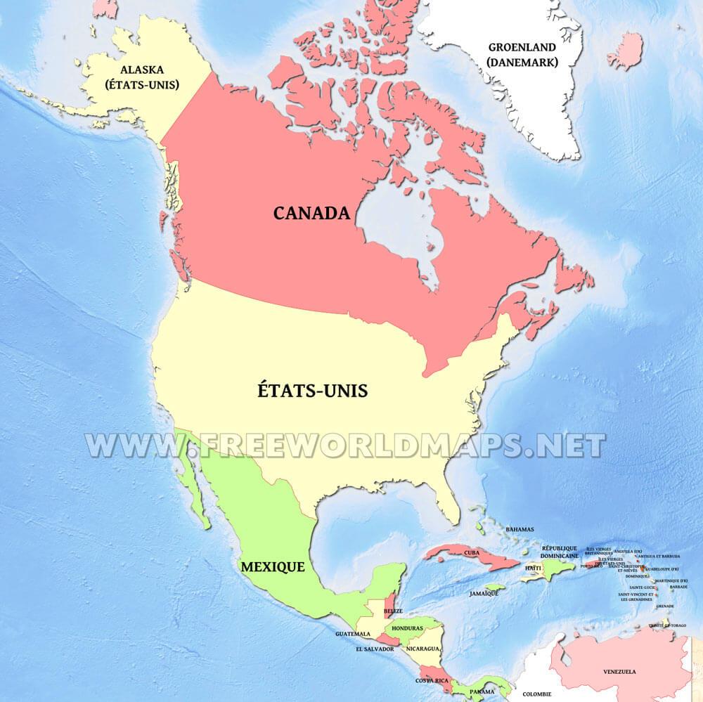 Carte Amerique Nord Etats.Carte De L Amerique Du Nord