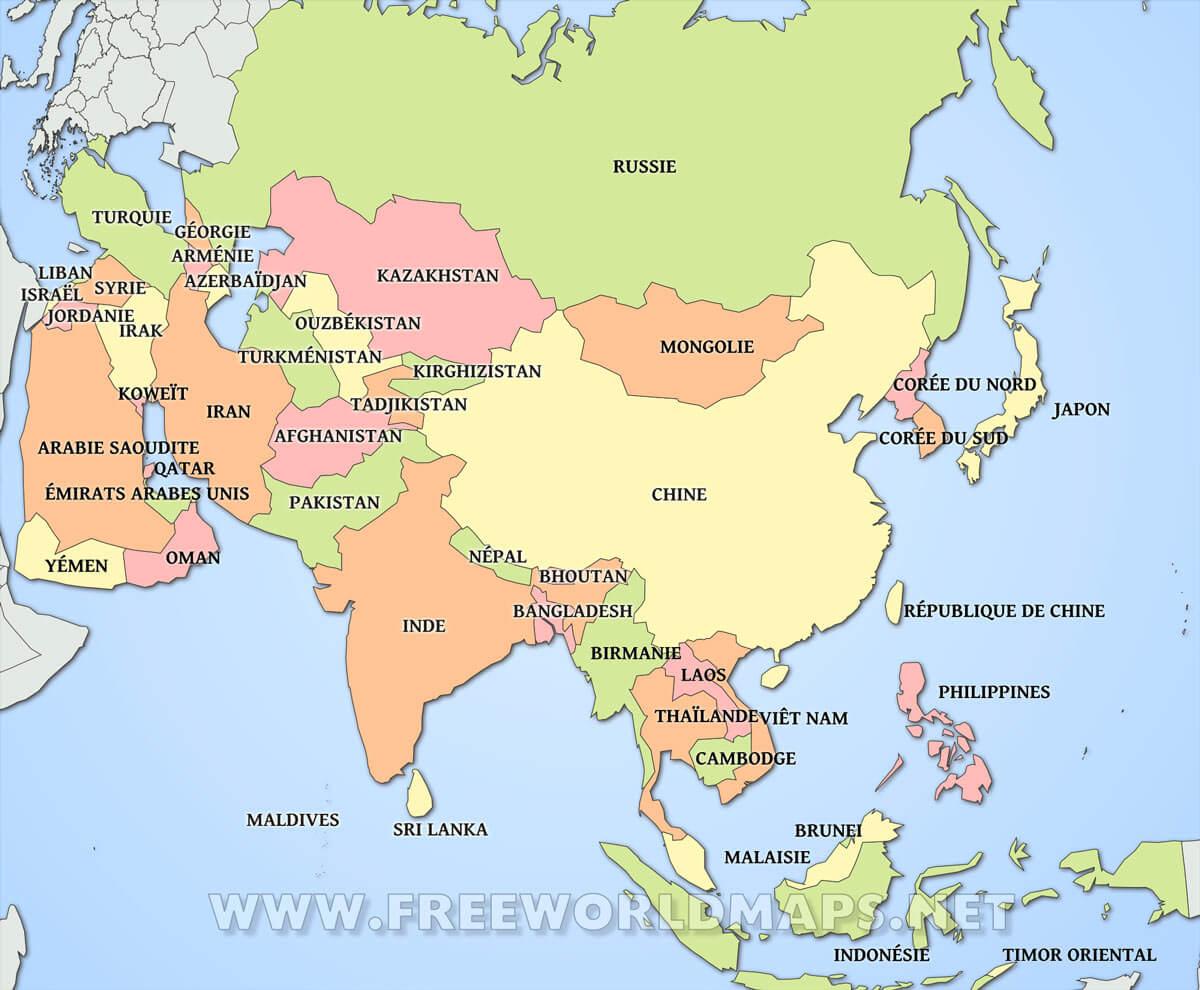 carte des pays d asie Carte de l'Asie