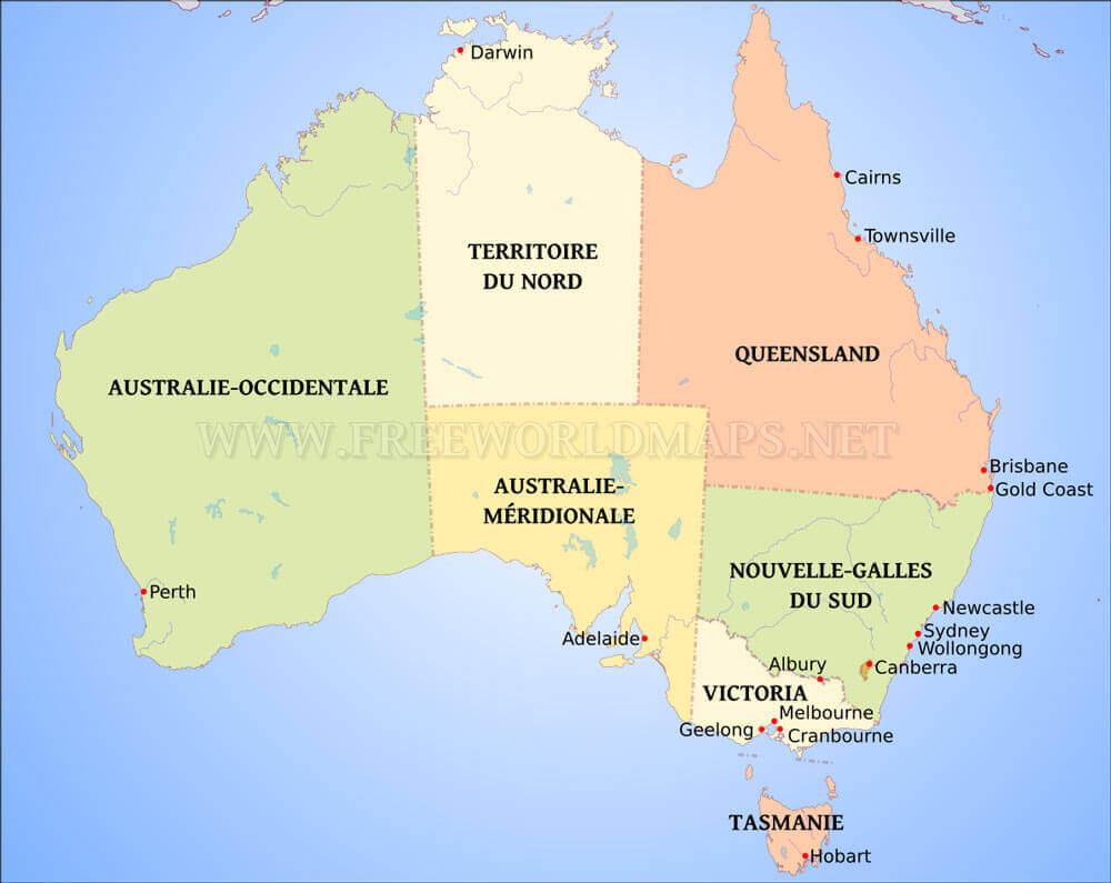 Carte Australie Grande Ville.Carte De L Australie