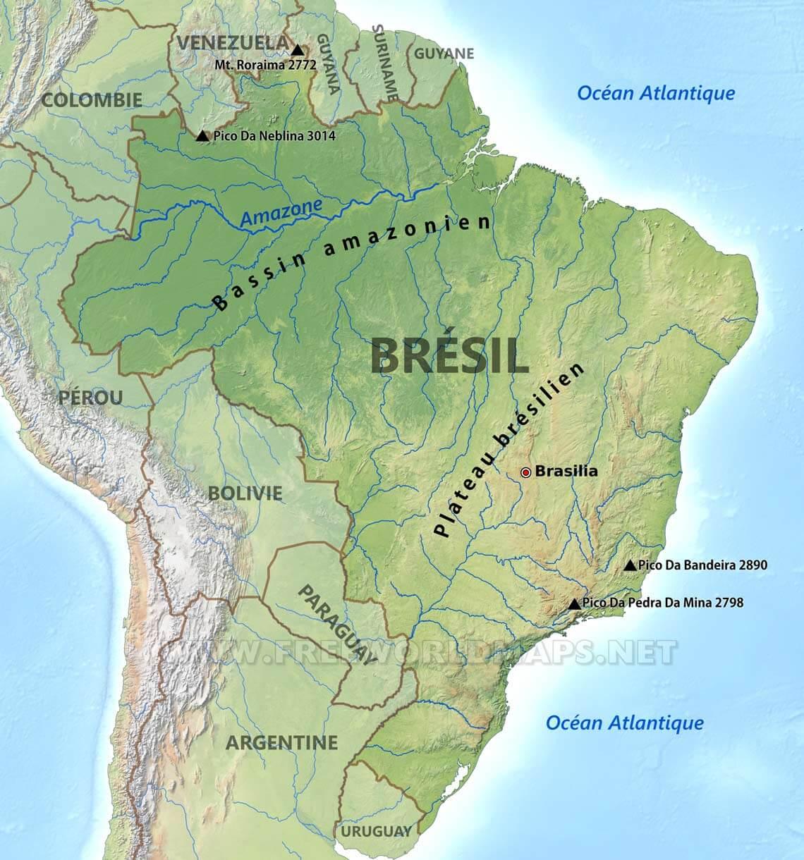 Carte Amerique Du Sud Pantanal.Carte Du Bresil
